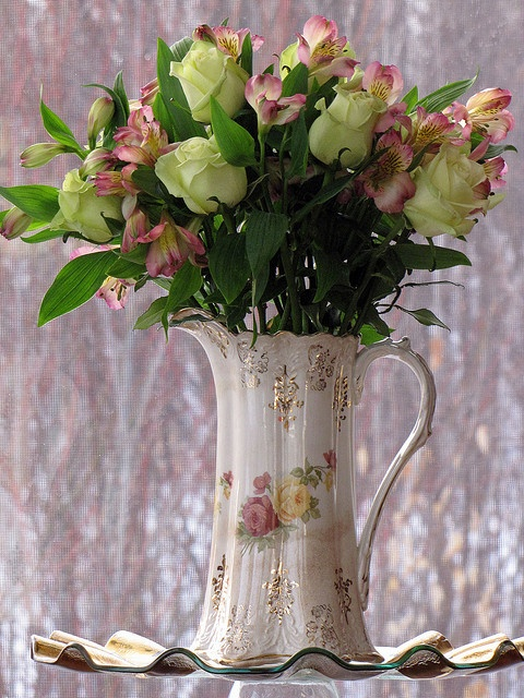 Vintage Pitcher with Roses
