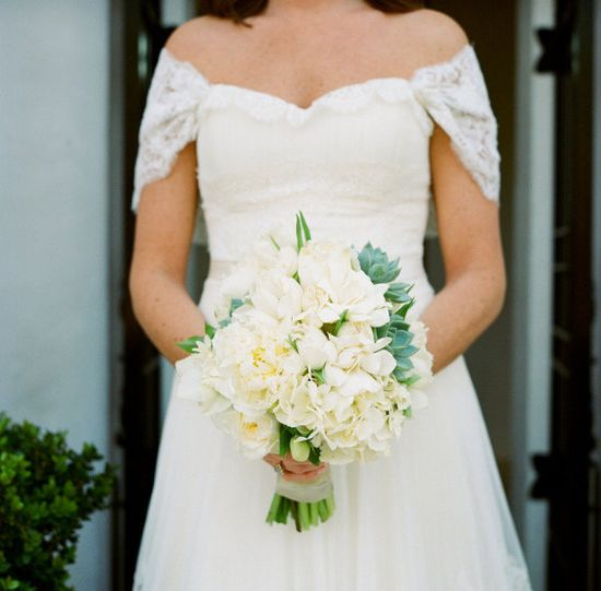 white peonies, hydrangeas and succulent bouquet