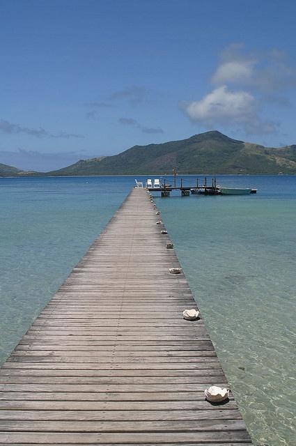 """Pontoon on Turtle Island, Fiji - the blue lagoon in the background. As in the """"Blue Lagoon"""" films."""