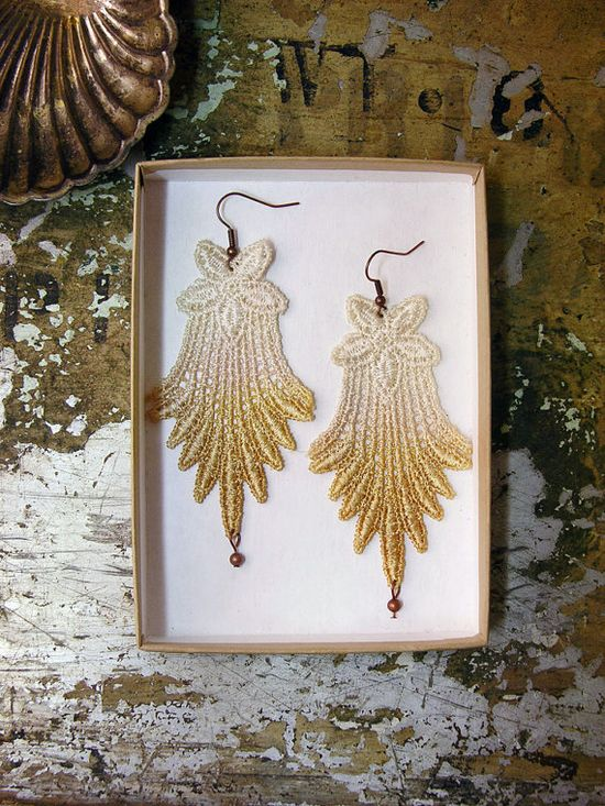 irena lace earrings by white owl #lace #ombre #earrings #fashion #accessories