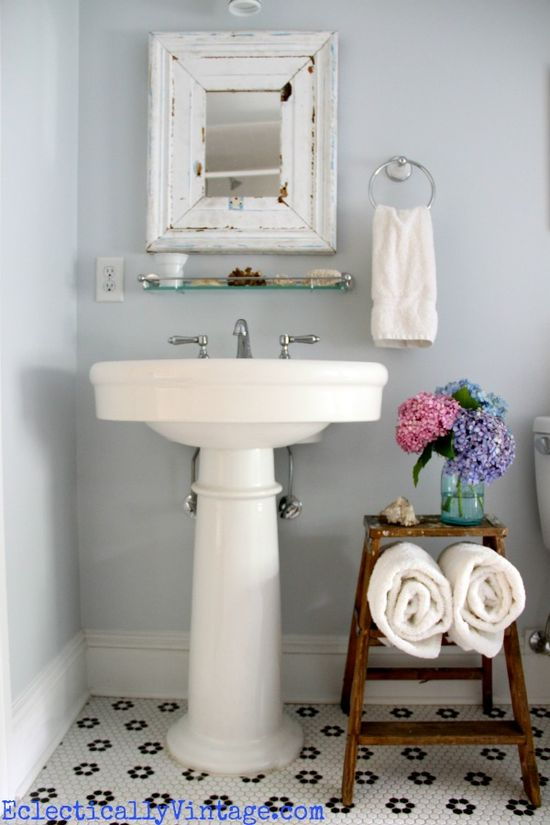 Bathroom Storage Ideas - love this old ladder towel holder!  eclecticallyvinta...
