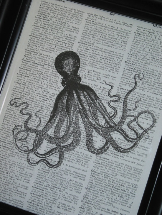 Upcycled Book Page Octopus on Vintage Dictionary Book Page $6