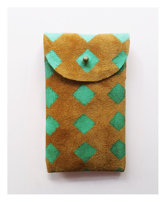 iPhone 4 and 4S pouch // toffee suede with mint squares via blackbirdandtheowl on Etsy