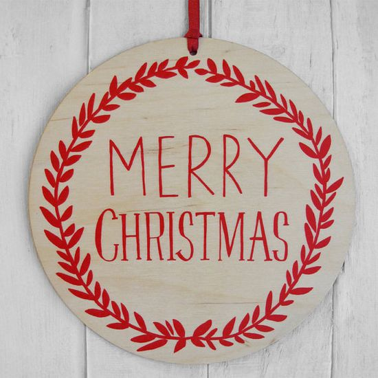 Large plywood Merry Christmas wall hanging -- love!
