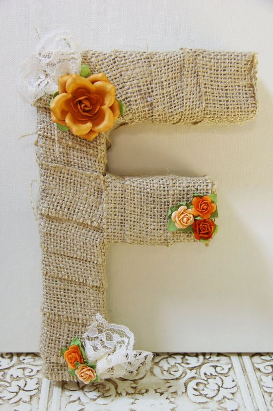 Burlap wrapped letter F - wedding decoration for cake topper, table centerpiece