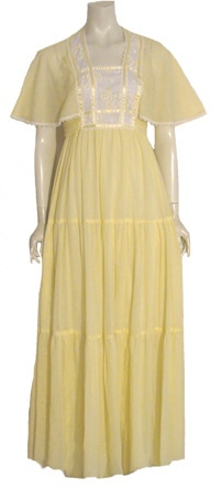 Jody T 70s Vintage Yellow Maxi Dress argh..actually wore this pattern as a bridesmaid