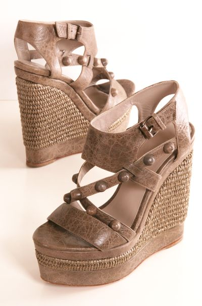 LOVE these Balenciaga Wedge Sandals.