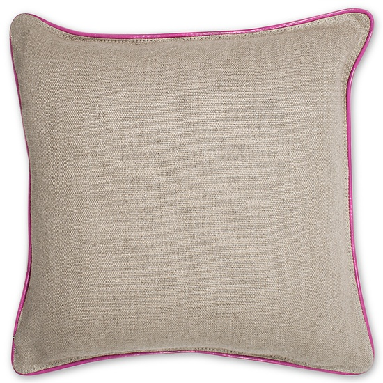 Jonathan Adler Pink Leather And Linen Pillow