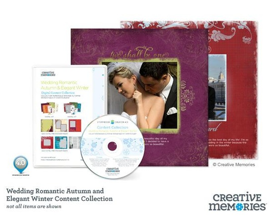 NEW September 1, 2012 - Wedding Romantic Autumn & Elegant Winter Content Collection CD. Includes both sets of 12x12 Pre-designed pages and their coordinating digital kits. ($36) #digital #scrapbooking