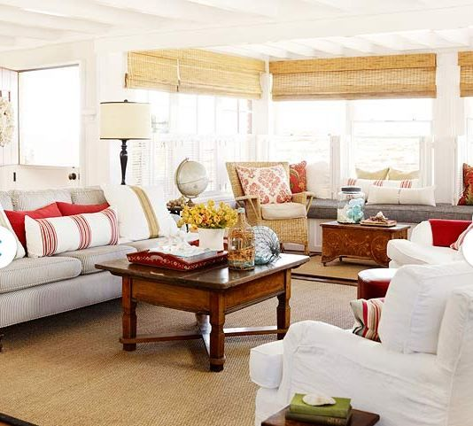 beach house living room with red accents BHG