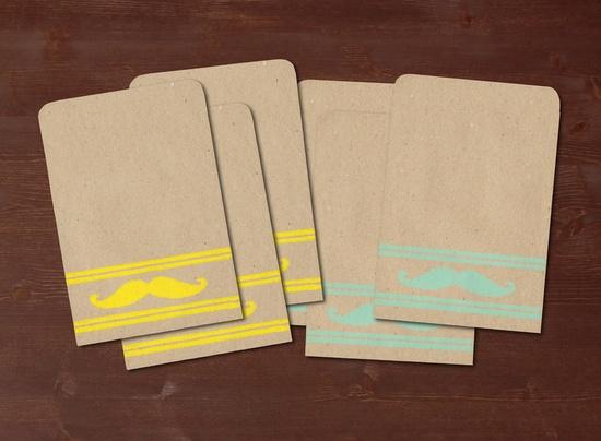 Mustache turquoise / yellow - 6 handmade gift bags