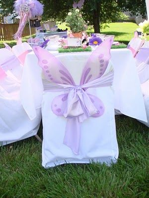 Using fairy wings to decorate a childs fairy party!