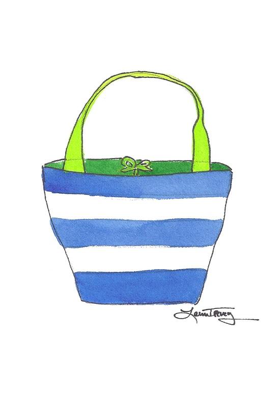 Lime and Cobalt Handbag: colorful  handbag watercolor painting