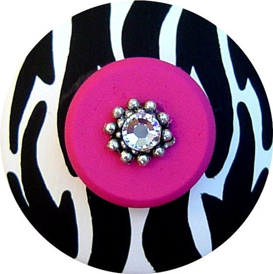 Set of 6 Black White and Hot Pink ZEBRA  by LisaEverettDesigns, $51.00