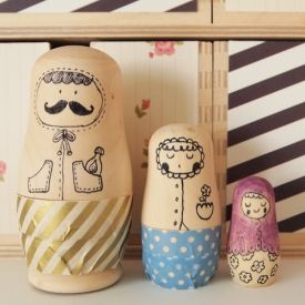Design your own Matryoshka Dolls with a few simple tools. Perfect for a personalised gift!