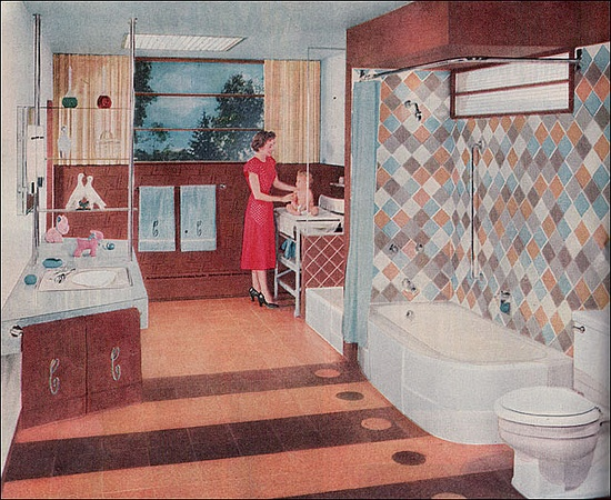 1953 Crane Bathroom    This ad (Better Homes & Gardens) shows a Crane bath that was designed to be split in half with the baby bathinette (yes, they called it that) removed and a toilet installed
