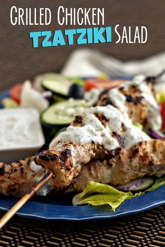 Grilled Chicken Tzatziki Salad ...this looks amazing!