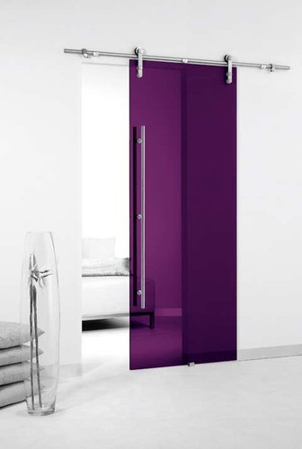 Colored Glass Barn Sliding Door - contemporary - windows and doors - Modernus