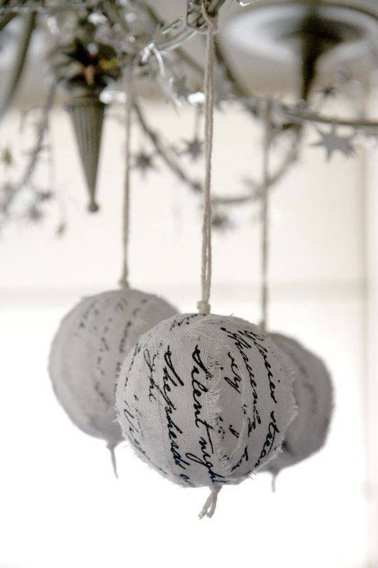 Christmas ornaments wrapped in hymns