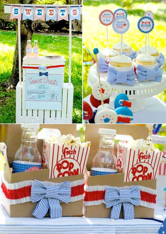 4th of July Seersucker themed backyard party with TONS of cute ideas!! Via Kara's Party Ideas