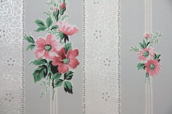 1940's Vintage Wallpaper lace ribbon with metallic silver and pink flowers