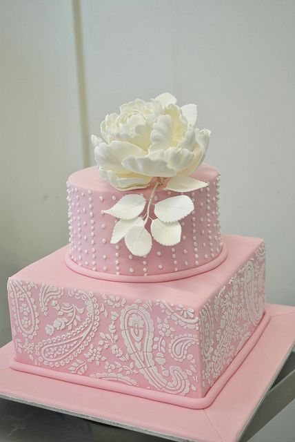 pink cake with white peony