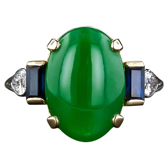 Art Deco Natural Jade, Diamond and Sapphire Ring