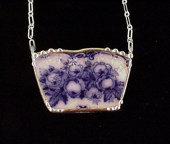 Flow blue roses broken plate necklace made from 1880s broken antique china