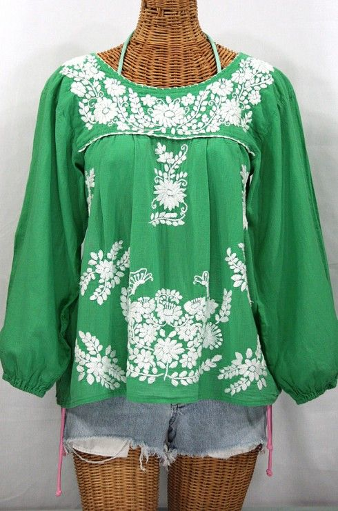 """La Mariposa Larga"" Embroidered Mexican Style Peasant Top - Green Siren's ""La Mariposa Larga"" Long-Sleeved Hand-Embroidered Vintage-Mexican Style Peasant Top/blouse in green."