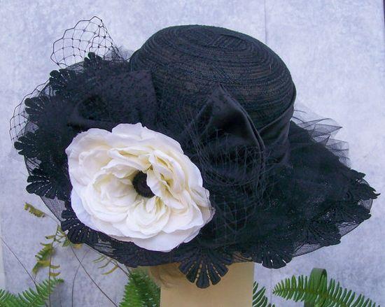 Wide Brim Black Hat, Kentucky Derby Hat, Garden Party Hat or Victorian Tea Party