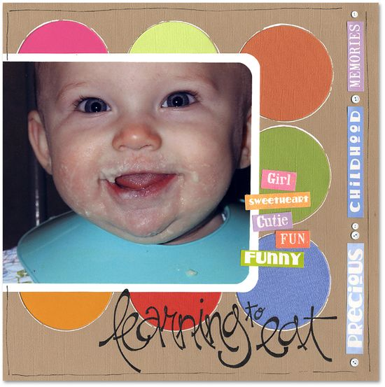Learning to Eat - Scrapbook.com - #scrapbooking #layouts #baby