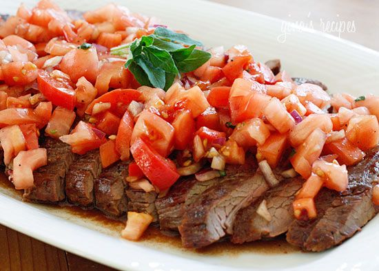 Grilled Flank Steak With Tomatoes, Red Onion, and Balsamic