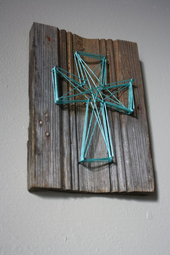 Reclaimed Wood Trim with String Art Cross Wall Decor. $8.00, via Etsy. I think that I could DIY this!