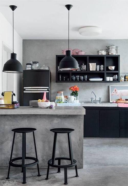 Interior Design - black shelves. love the concrete, clean, industrial look.