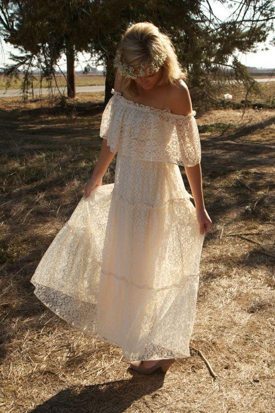 Boho Vintage Wedding Dress  www.daughtersofsi...