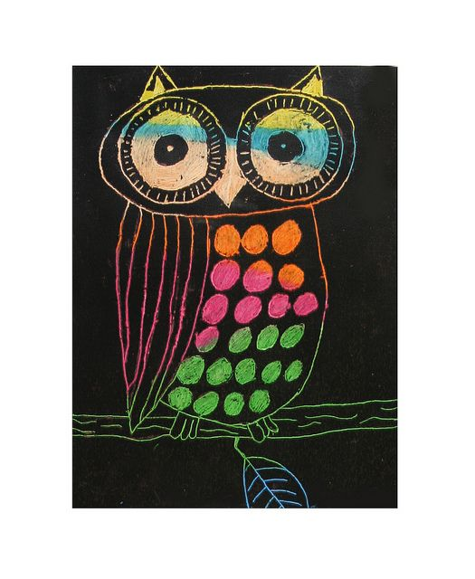 SCRATCH ART OWLS- GRADE 6
