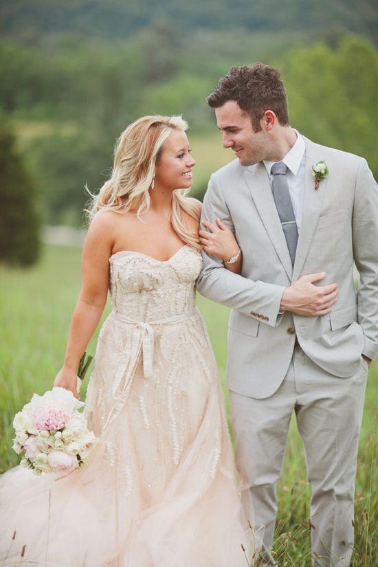 amazing blush pink Monique Lhuillier wedding gown // photo by TaylorLordPhotogr...