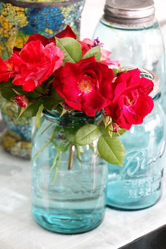 beautiful arrangement in mason jar