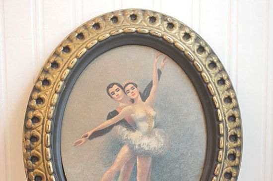 Ballerina Art Vintage Print Framed Ballet Painting by MollyFinds, $30.00