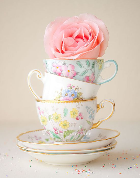"""Tea Cups and a Rose"" by Zila Longenecker"