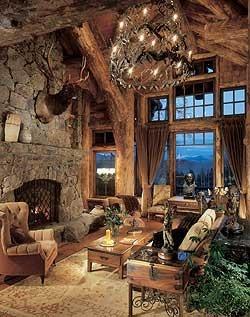 log cabin luxury  #home #decor #wood #stone