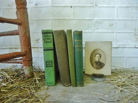 Antique Book Bundle  Shades of Green  Collection