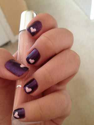 Pink and purple heart nails