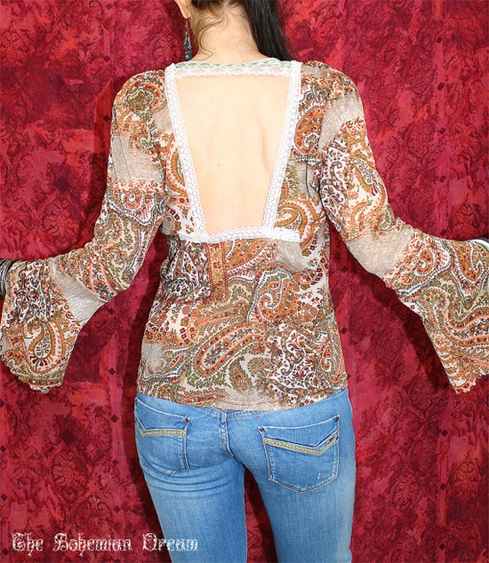 Bohemian top open back lace see through cardigan shirt Boho Hippie layering Upcycled clothing summer festival OOAK by TheBohemianDream, €29.00