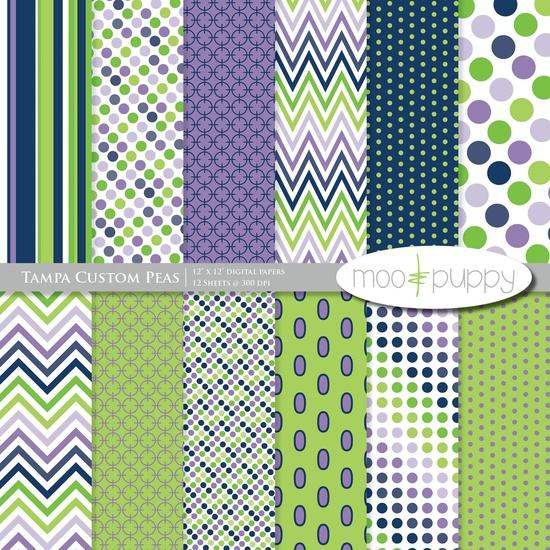 Digital Scrapbook Paper Pack by Moo and Puppy