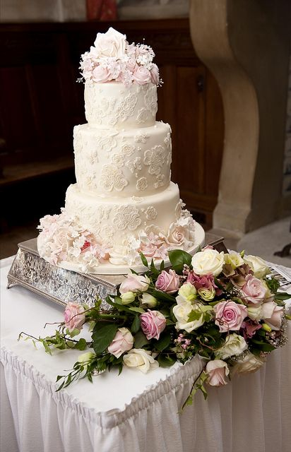 Three tier ivory and pink lace cake by elizabethscakeemporium, via Flickr