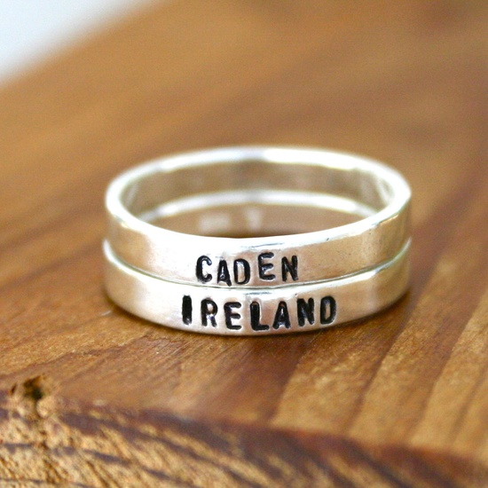 Two customized Sterling silver hand stamped rings - personalized stacking name rings.