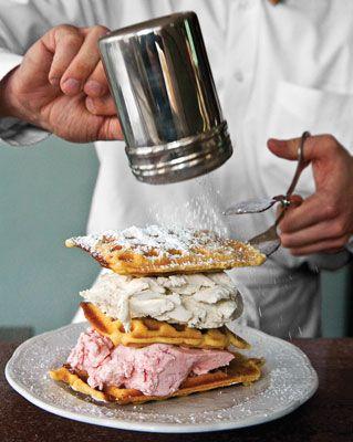 Ice cream and waffles. Mhmmm! [Ice Cream Waffle Sandwiches: Layered Handmade Ice Cream between Warm Buttermilk Waffles from Franklin Fountain, Philadelphia, PA] #icecream #waffles