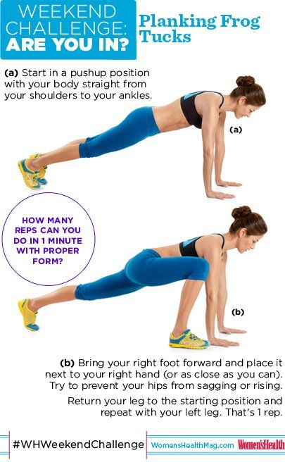 #WHWeekendChallenge : Planking Frog Tucks! Give this exercise a try: How many reps can you do in 1 minute with proper form? Too easy? Add a pushup between each rep. Yowza! So...ARE YOU IN?