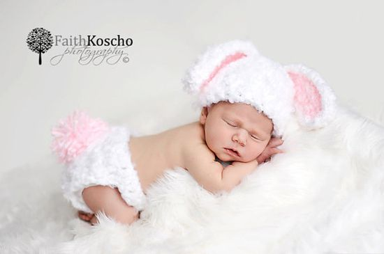 Floppy Ears Fuzzy Bunny Hat And Diaper Cover Set by InHsTyme, $33.99
